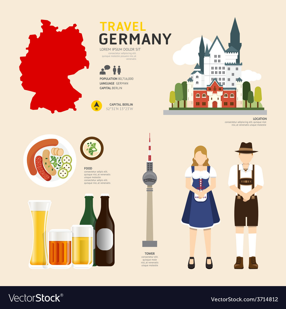 Travel concept germany landmark flat vector | Price: 1 Credit (USD $1)