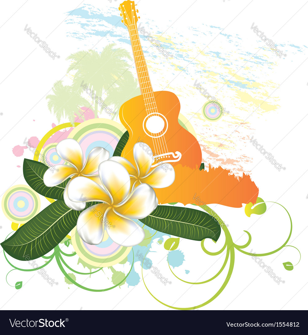 Tropical background with guitar vector   Price: 1 Credit (USD $1)