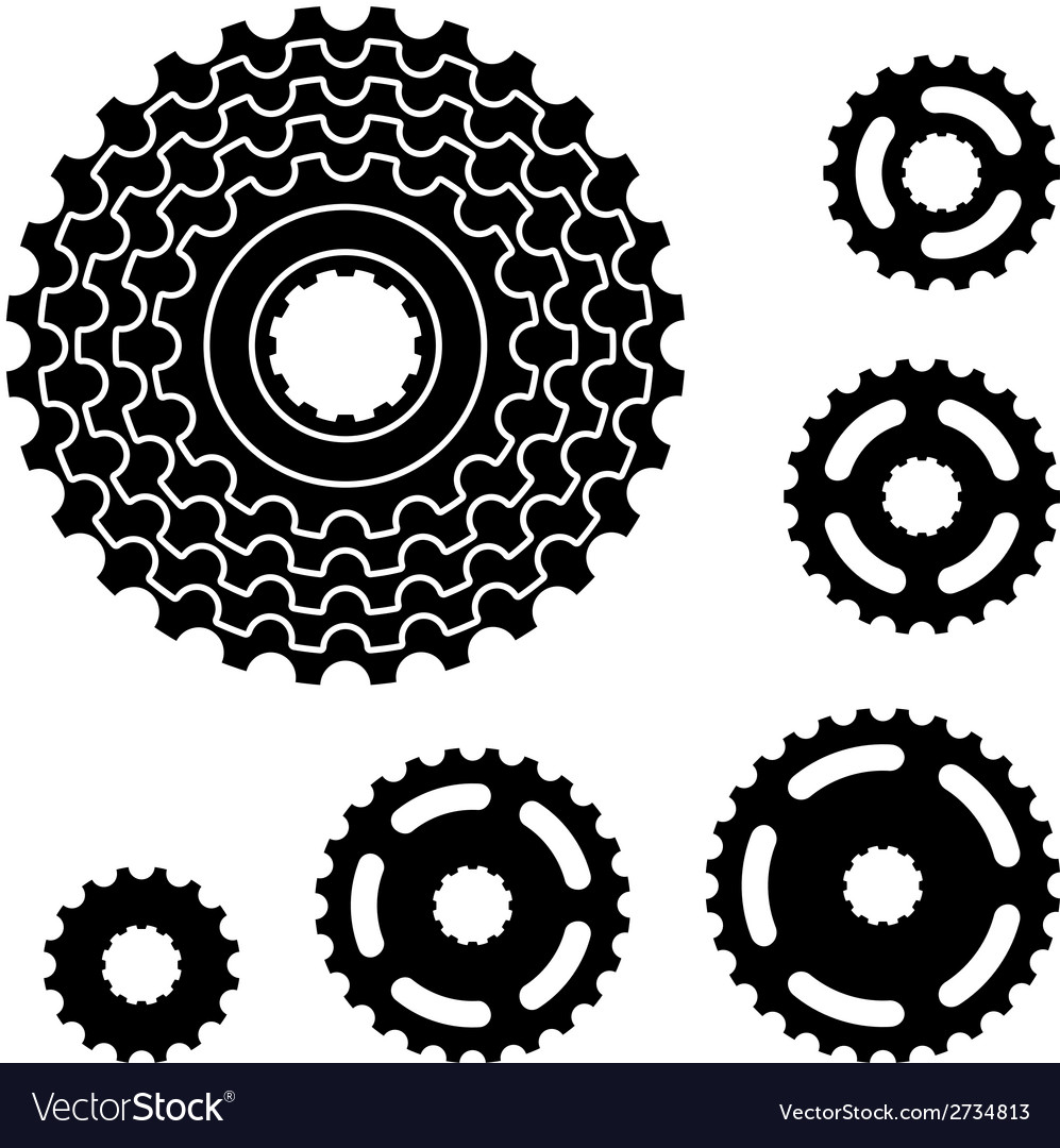 Bicycle gear cogwheel sprocket symbols vector | Price: 1 Credit (USD $1)