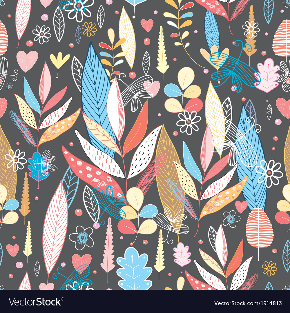 Bright autumnal pattern with leaves vector | Price: 1 Credit (USD $1)
