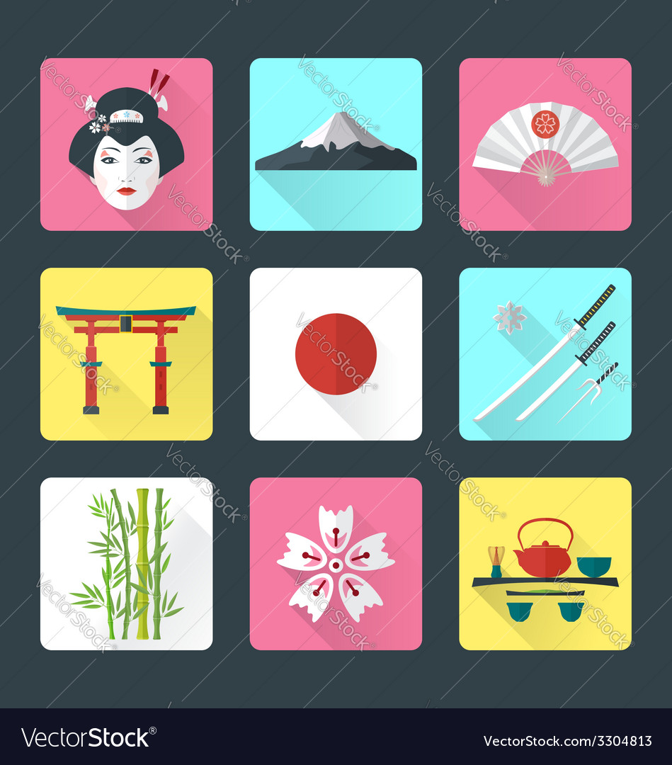 Flat japan icons set vector | Price: 1 Credit (USD $1)