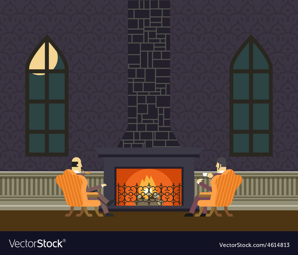 Gentlemen at fireplace evening room hall vector | Price: 1 Credit (USD $1)