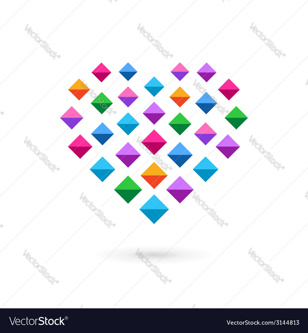 Heart mosaic crystal logo icon vector | Price: 1 Credit (USD $1)