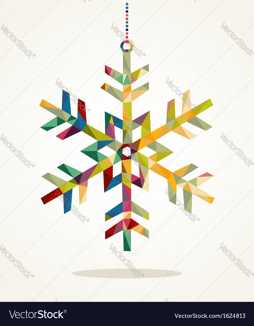 Merry christmas snowflake shape with triangle vector | Price: 1 Credit (USD $1)