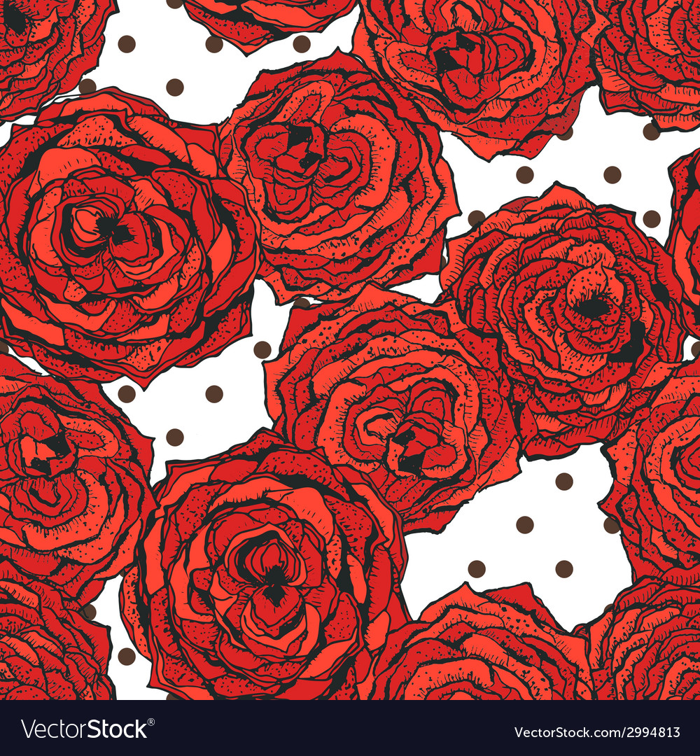 Seamless pattern with red flowers and dots vector | Price: 1 Credit (USD $1)