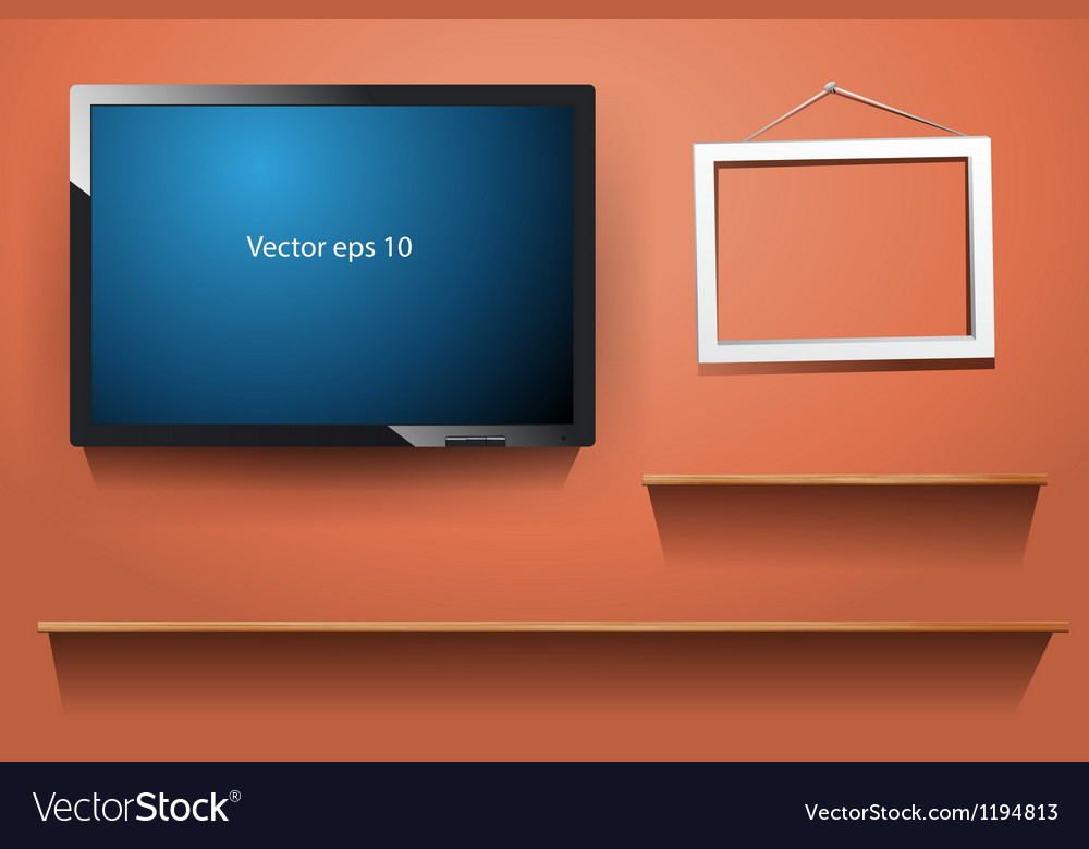 Tv on wall with wood shelf vector | Price: 1 Credit (USD $1)