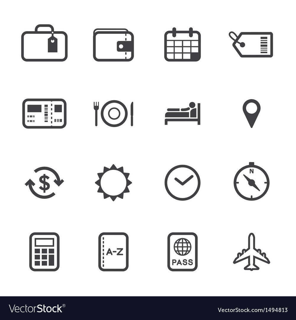 Vacation and travel icons vector | Price: 1 Credit (USD $1)
