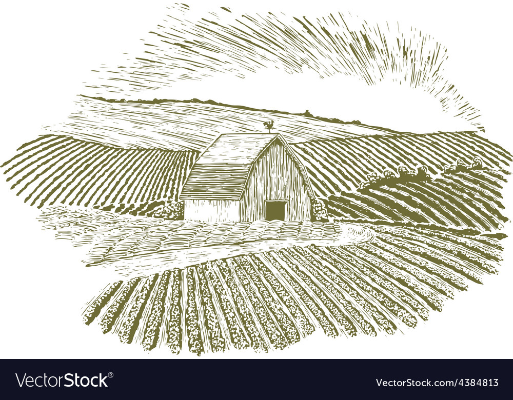 Woodcut rural farm setting vector | Price: 1 Credit (USD $1)