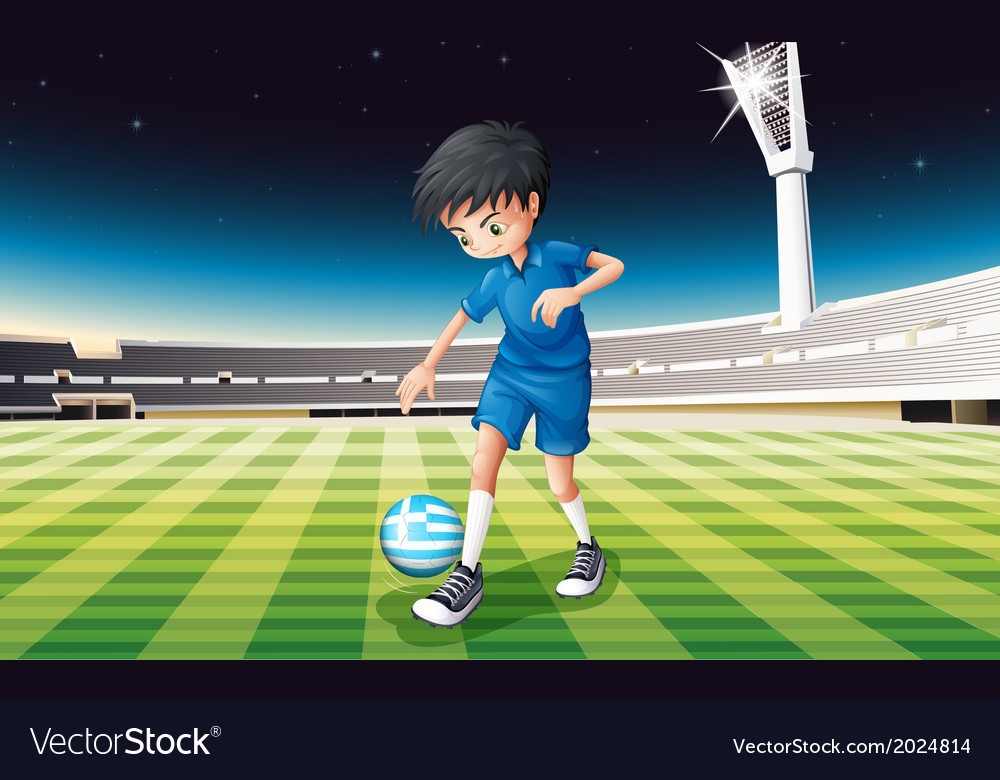 A boy at the field using the ball from greece vector | Price: 3 Credit (USD $3)
