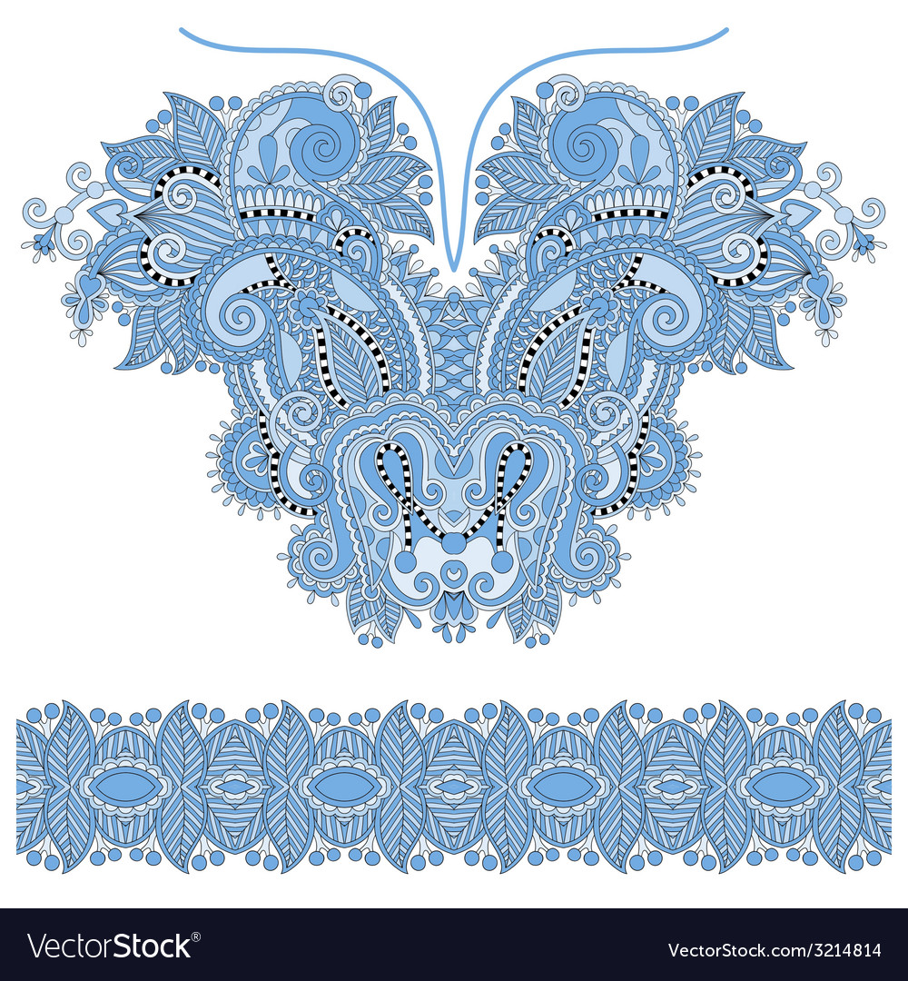 Blue colour neckline ornate floral paisley vector | Price: 1 Credit (USD $1)