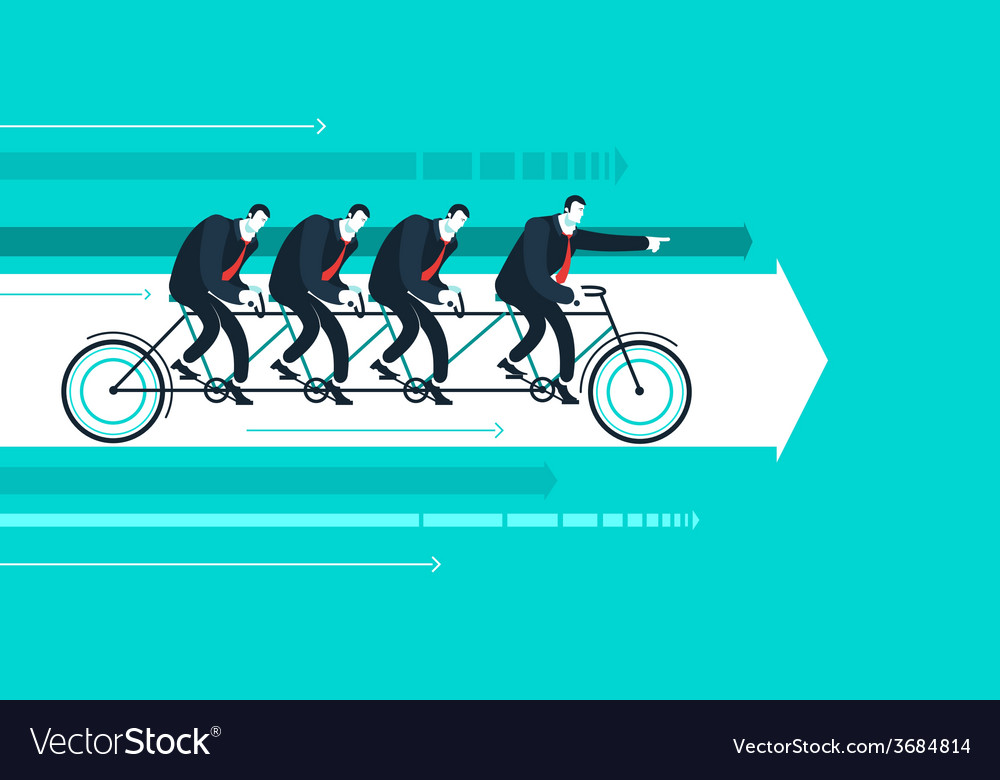Business man with team on the bicycle vector | Price: 1 Credit (USD $1)
