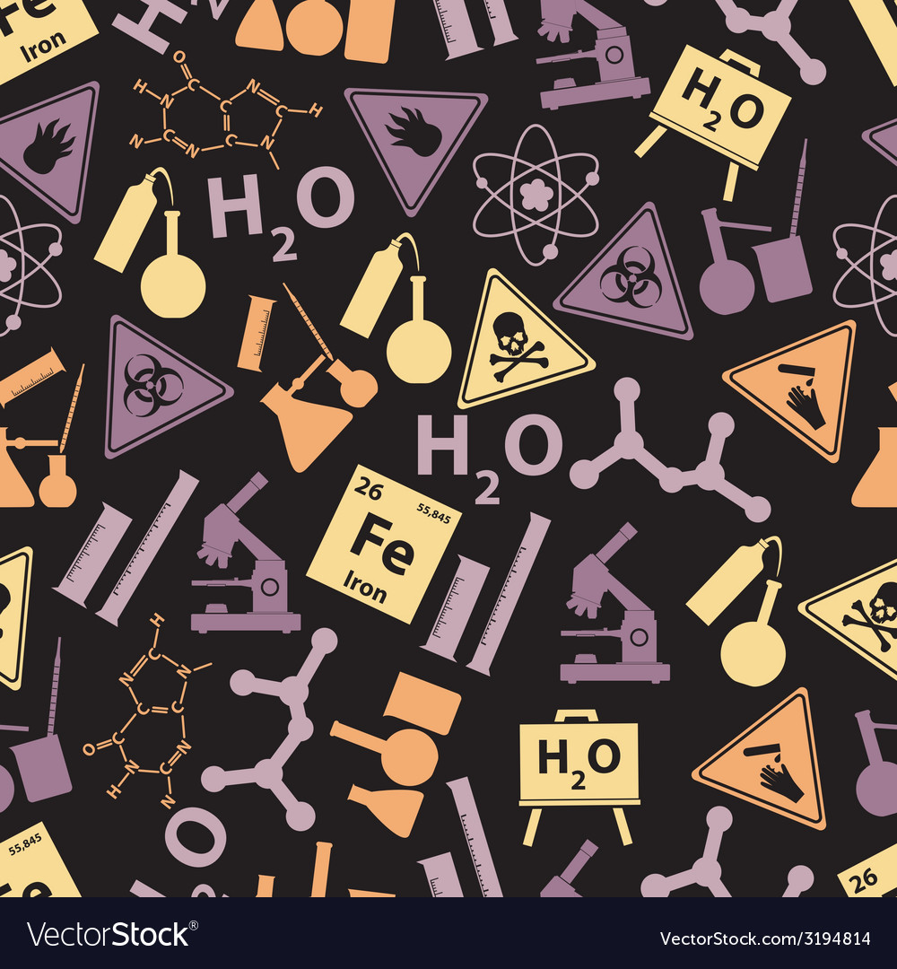 Chemistry color icons dark pattern eps10 vector | Price: 1 Credit (USD $1)