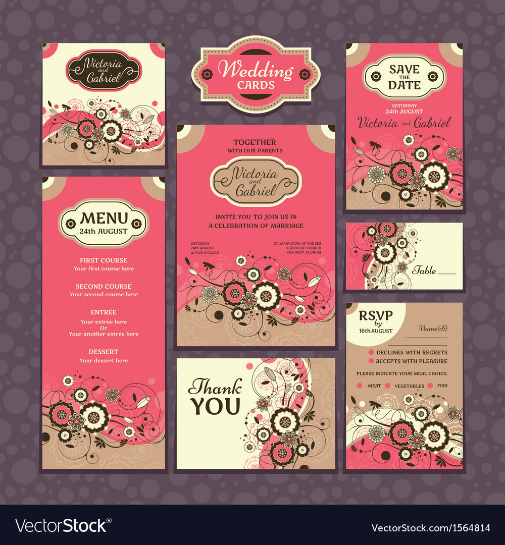 Floral wedding cards vector | Price: 1 Credit (USD $1)