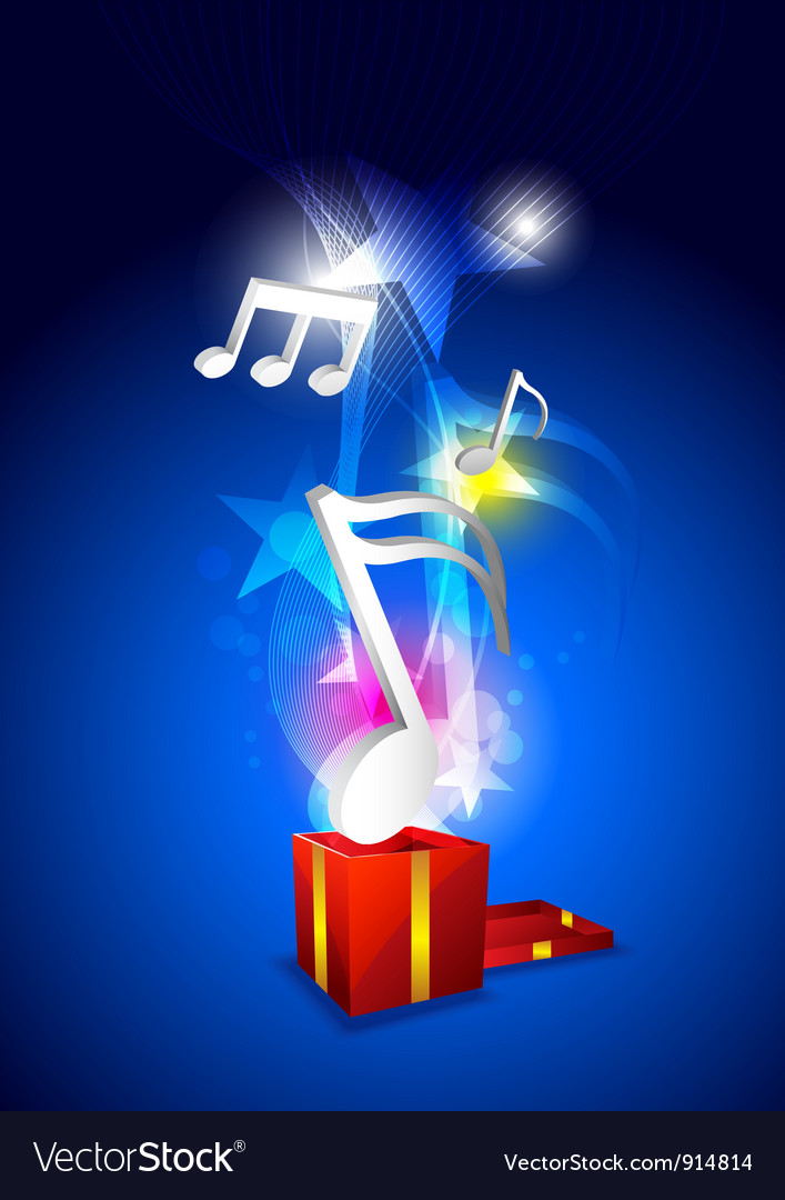 Music floating from gift box vector | Price: 1 Credit (USD $1)
