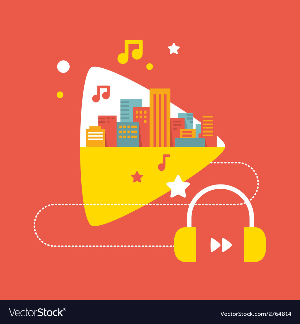 Sounds of the big city with headphones vector | Price: 1 Credit (USD $1)