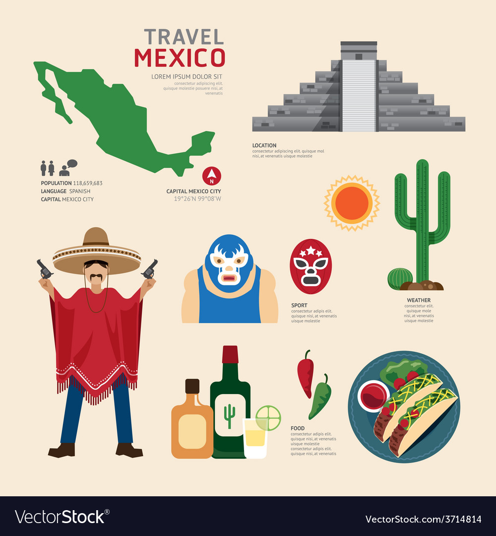 Travel concept mexico landmark flat icons vector | Price: 1 Credit (USD $1)