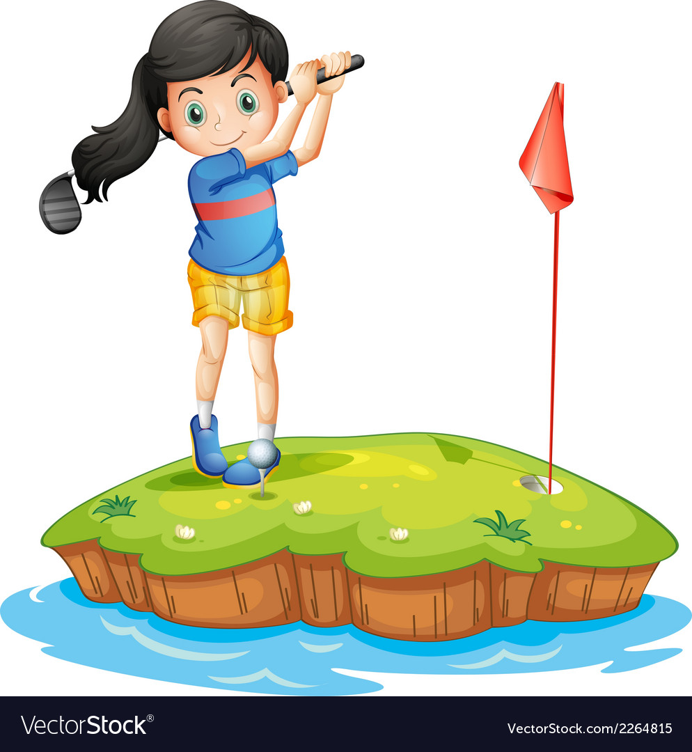 A young lady golfing vector | Price: 1 Credit (USD $1)