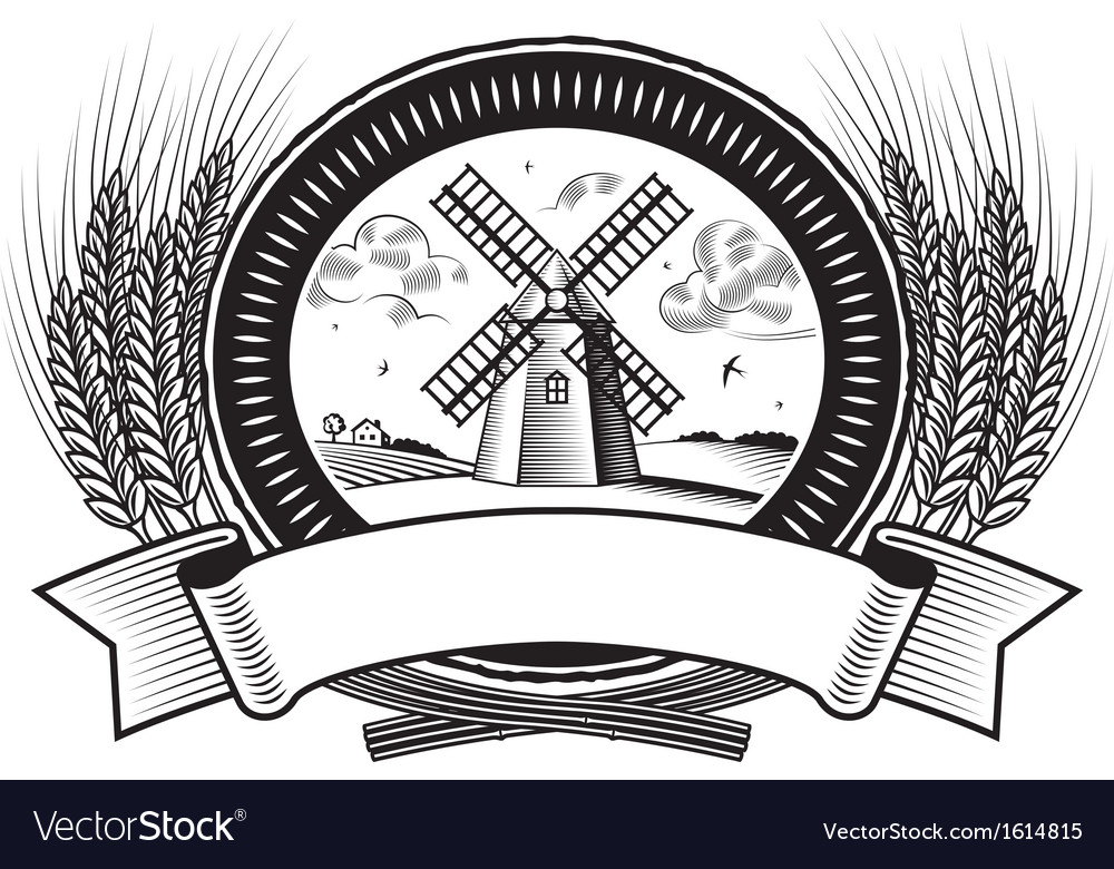 Cereal harvest label black and white vector | Price: 1 Credit (USD $1)