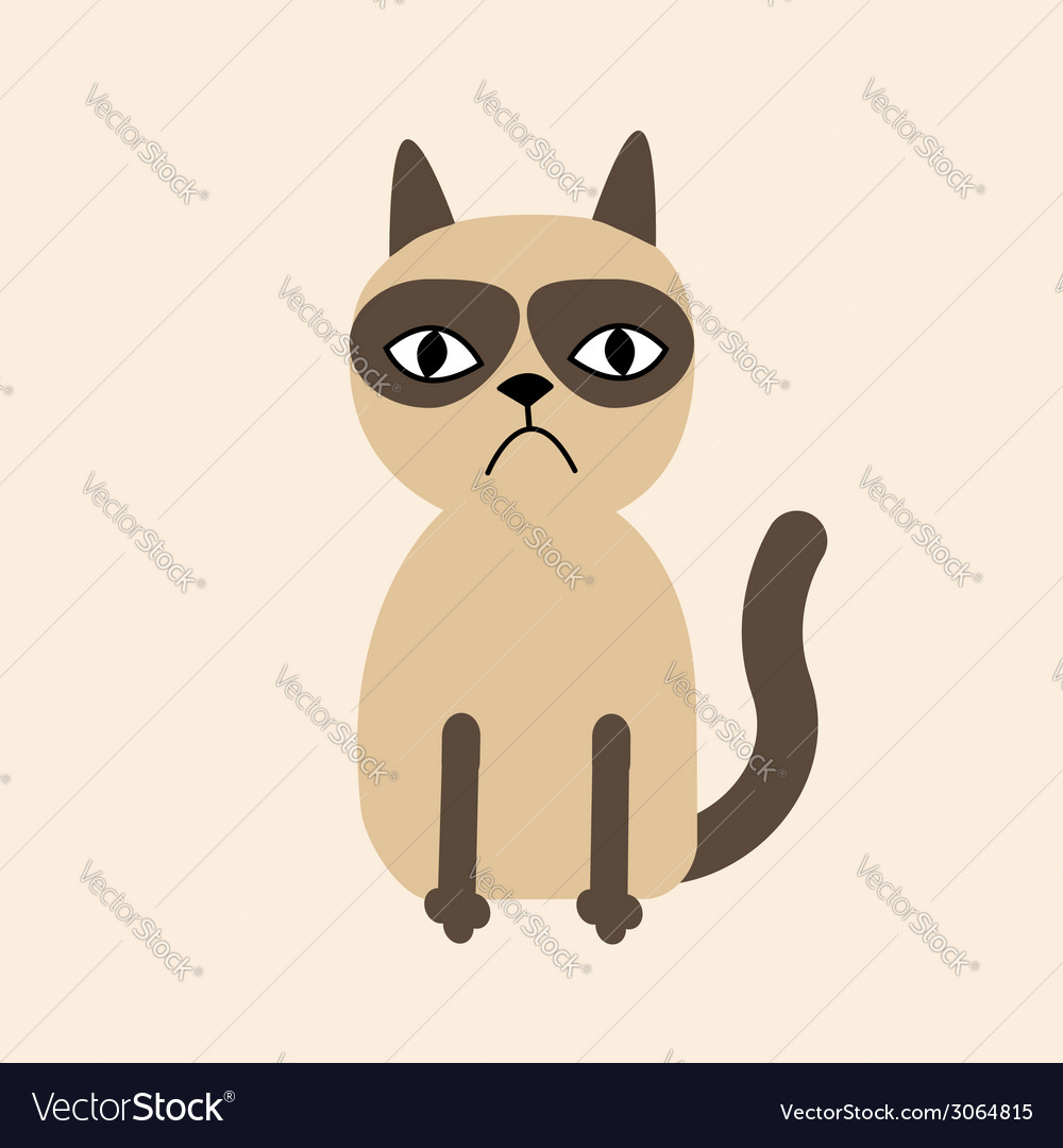 Cute sad grumpy siamese cat in flat design style vector | Price: 1 Credit (USD $1)
