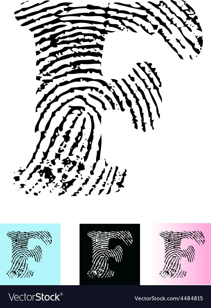 Fingerprint alphabet letter f vector | Price: 1 Credit (USD $1)