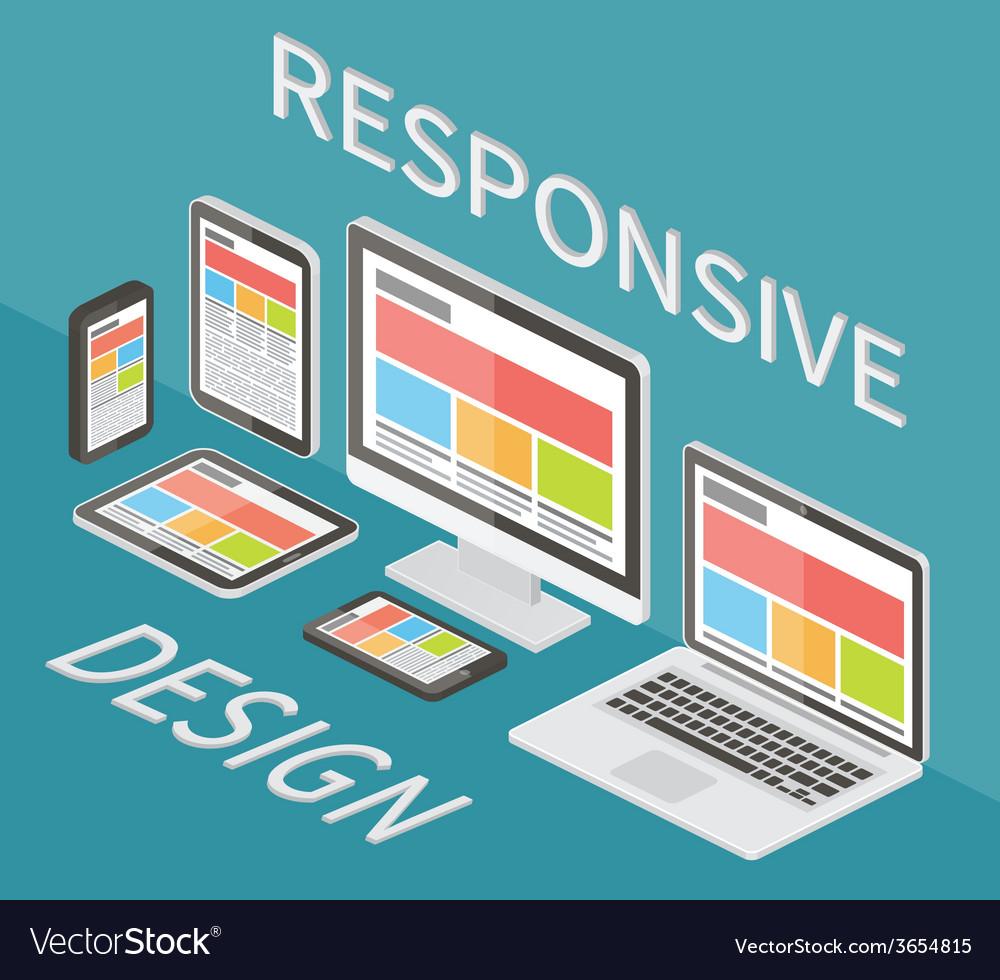 Responsive web design 3d isometric flat vector   Price: 1 Credit (USD $1)