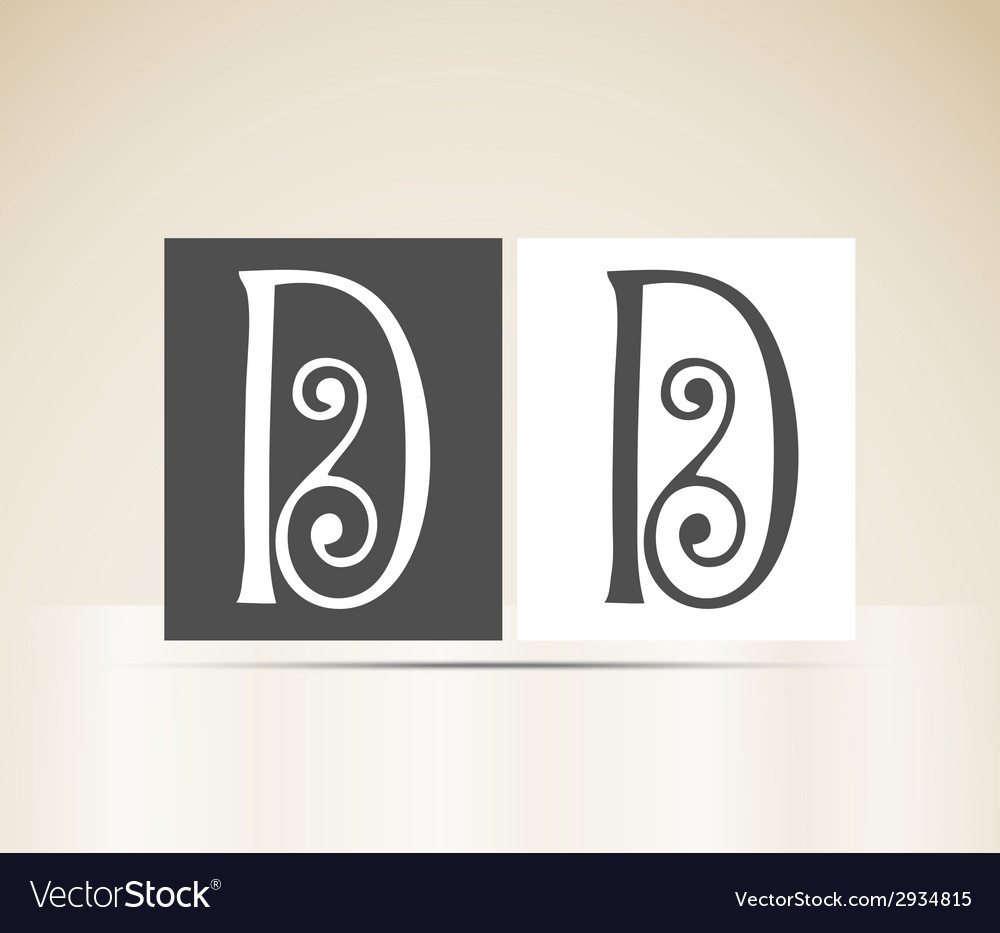 Retro alphabet letter d art deco vintage design vector | Price: 1 Credit (USD $1)