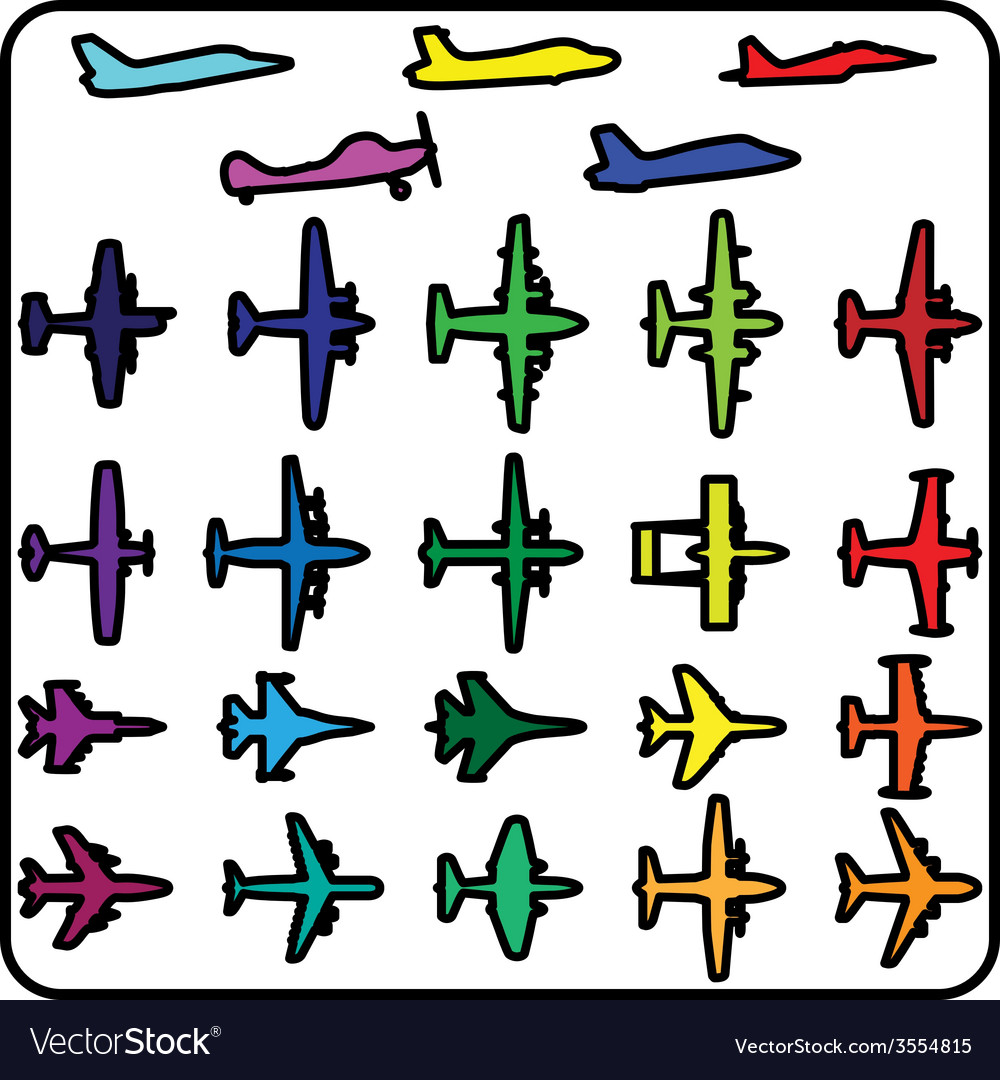 Set of different airplane icons vector | Price: 1 Credit (USD $1)