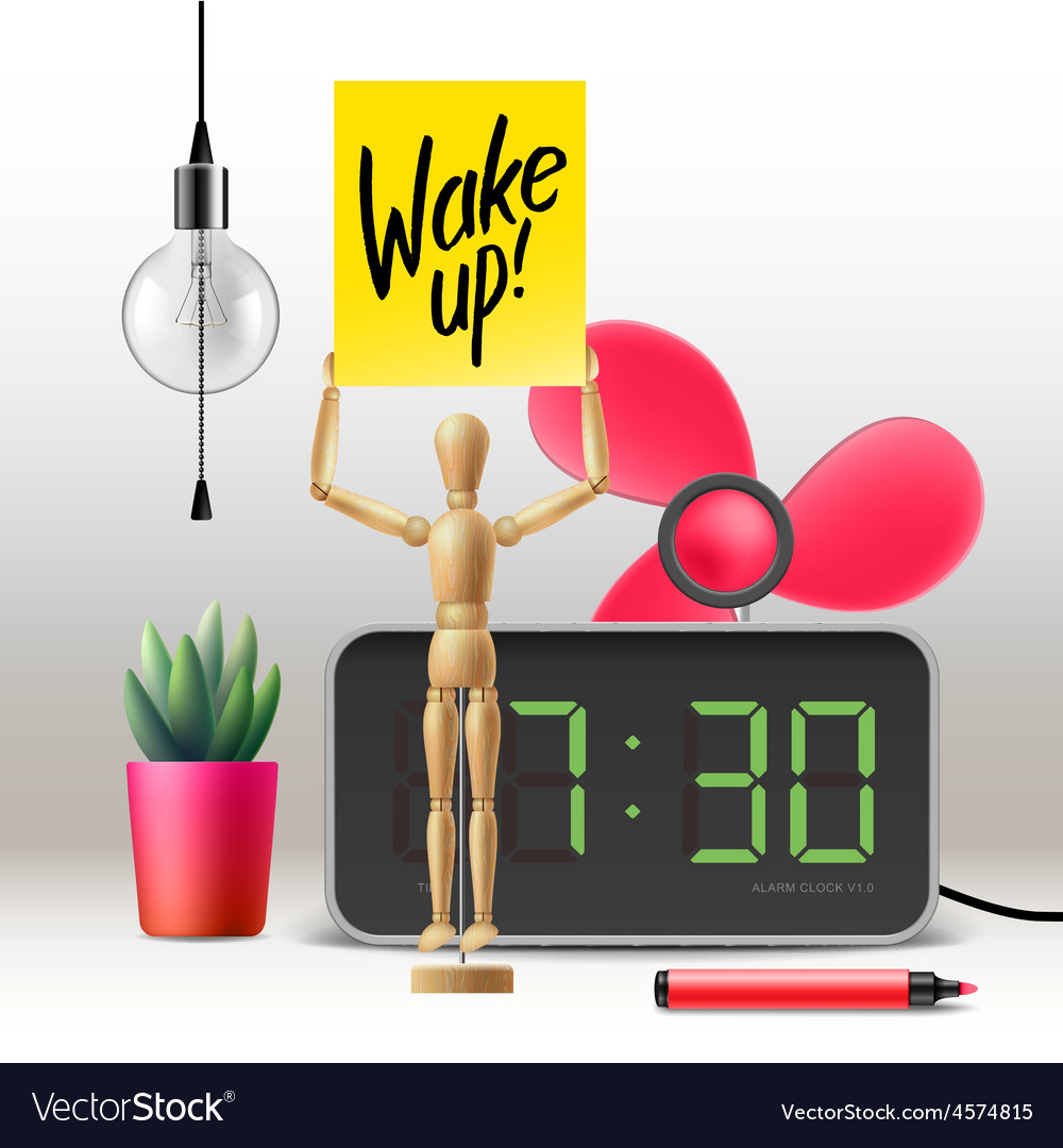 Wake up workspace mock up with digital alarm vector | Price: 3 Credit (USD $3)