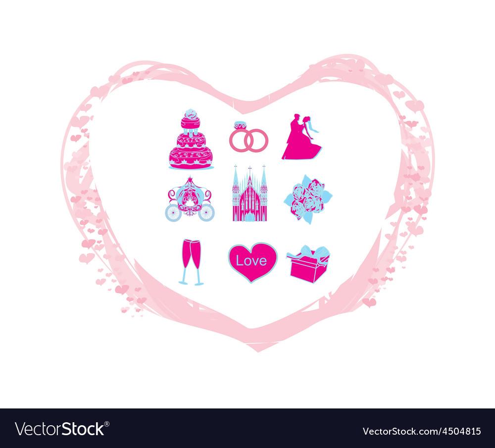 Wedding icons set vector | Price: 1 Credit (USD $1)