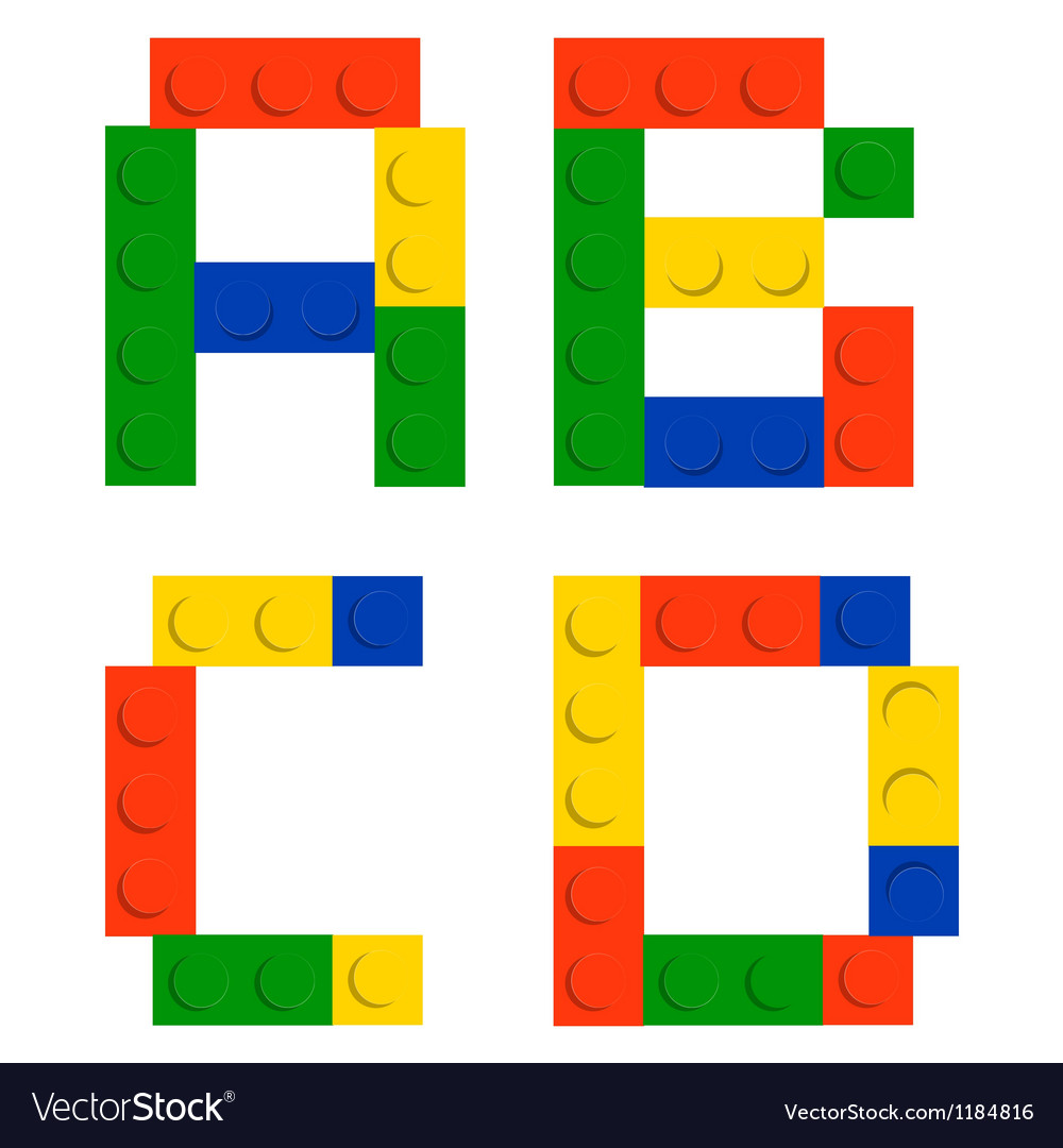 Alphabet set made of toy construction brick blocks vector | Price: 1 Credit (USD $1)