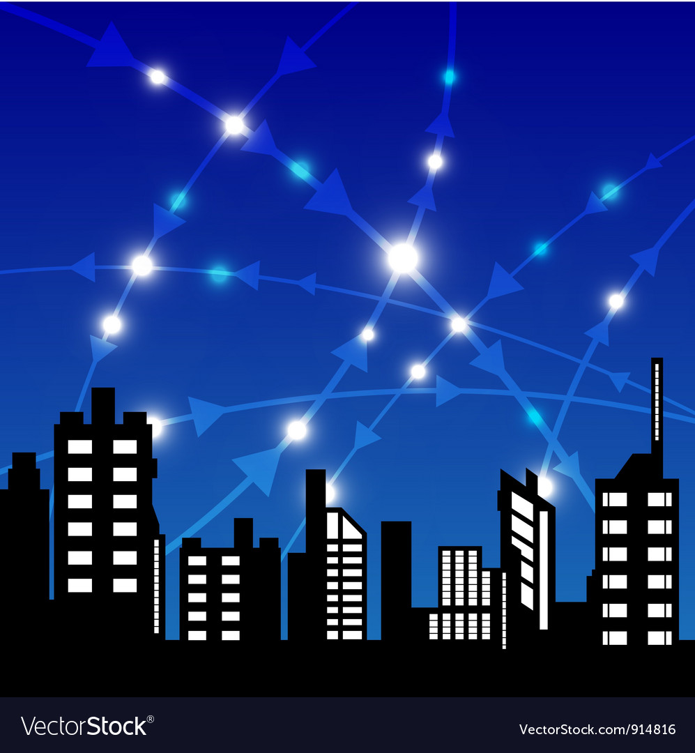 City with communication vector | Price: 1 Credit (USD $1)