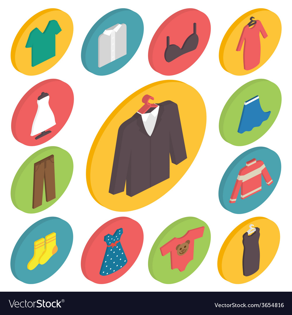 Clothing icons 3d isometric vector | Price: 1 Credit (USD $1)