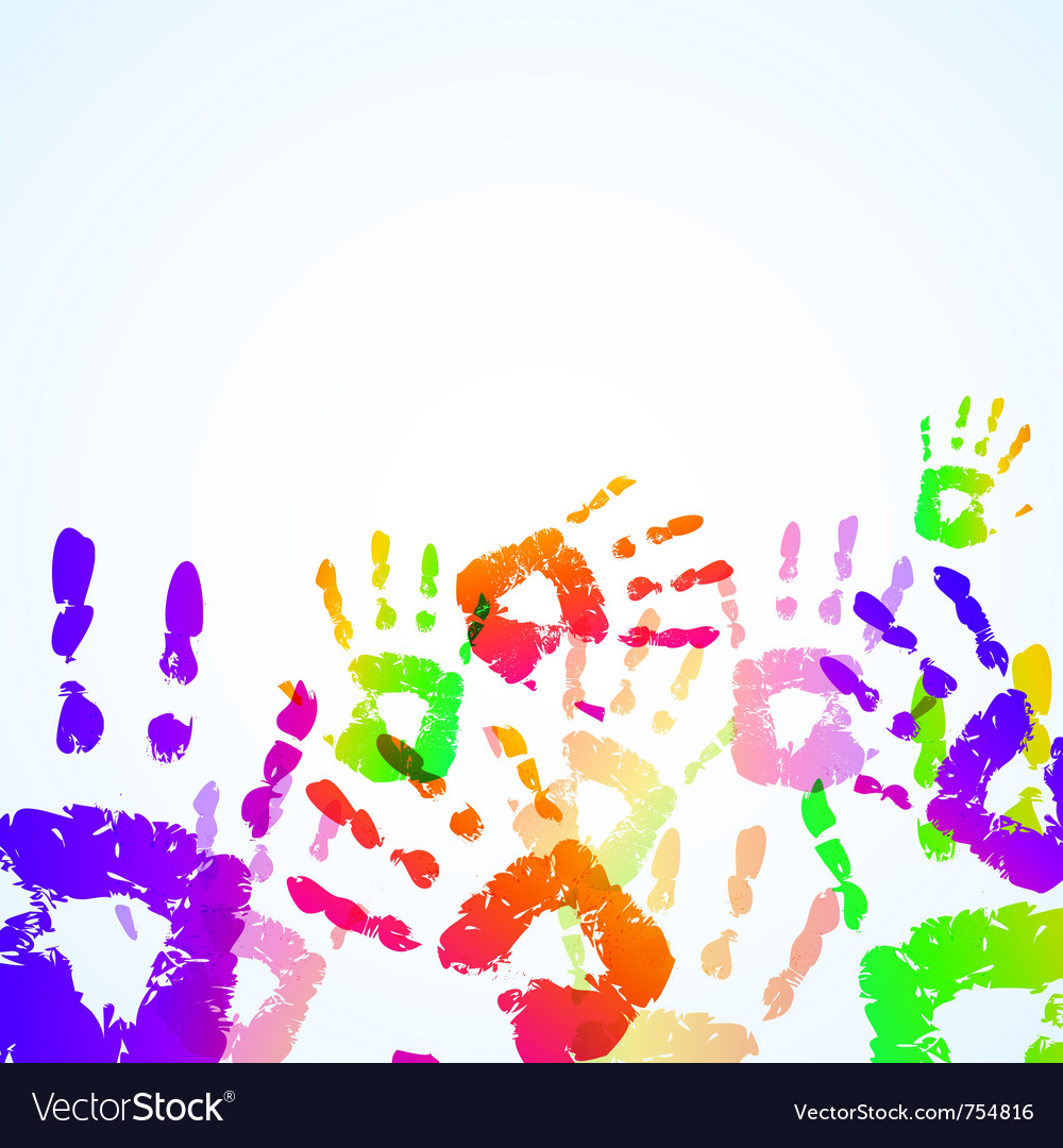Colorful hand prints background vector | Price: 1 Credit (USD $1)