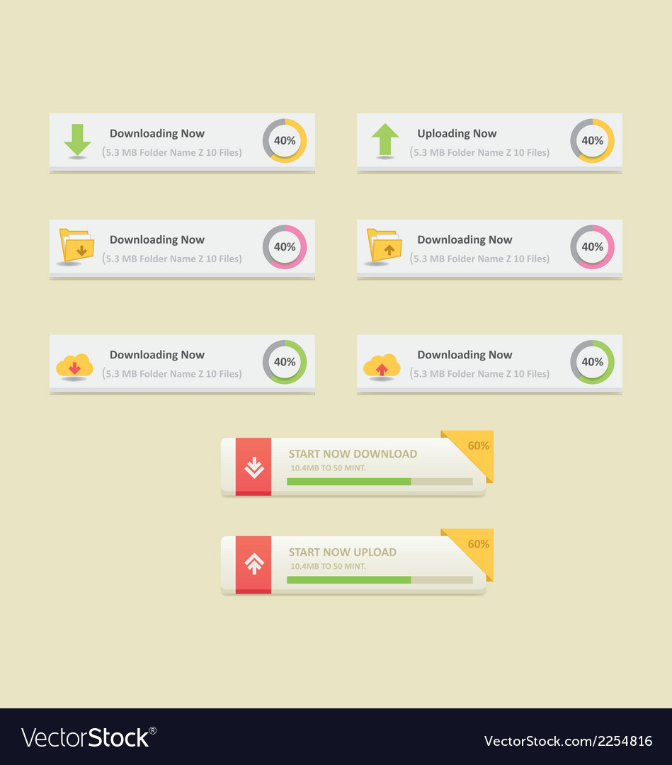 Download and upload buttons set vector | Price: 1 Credit (USD $1)