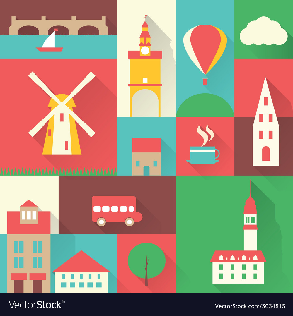 Europe city set vector | Price: 1 Credit (USD $1)