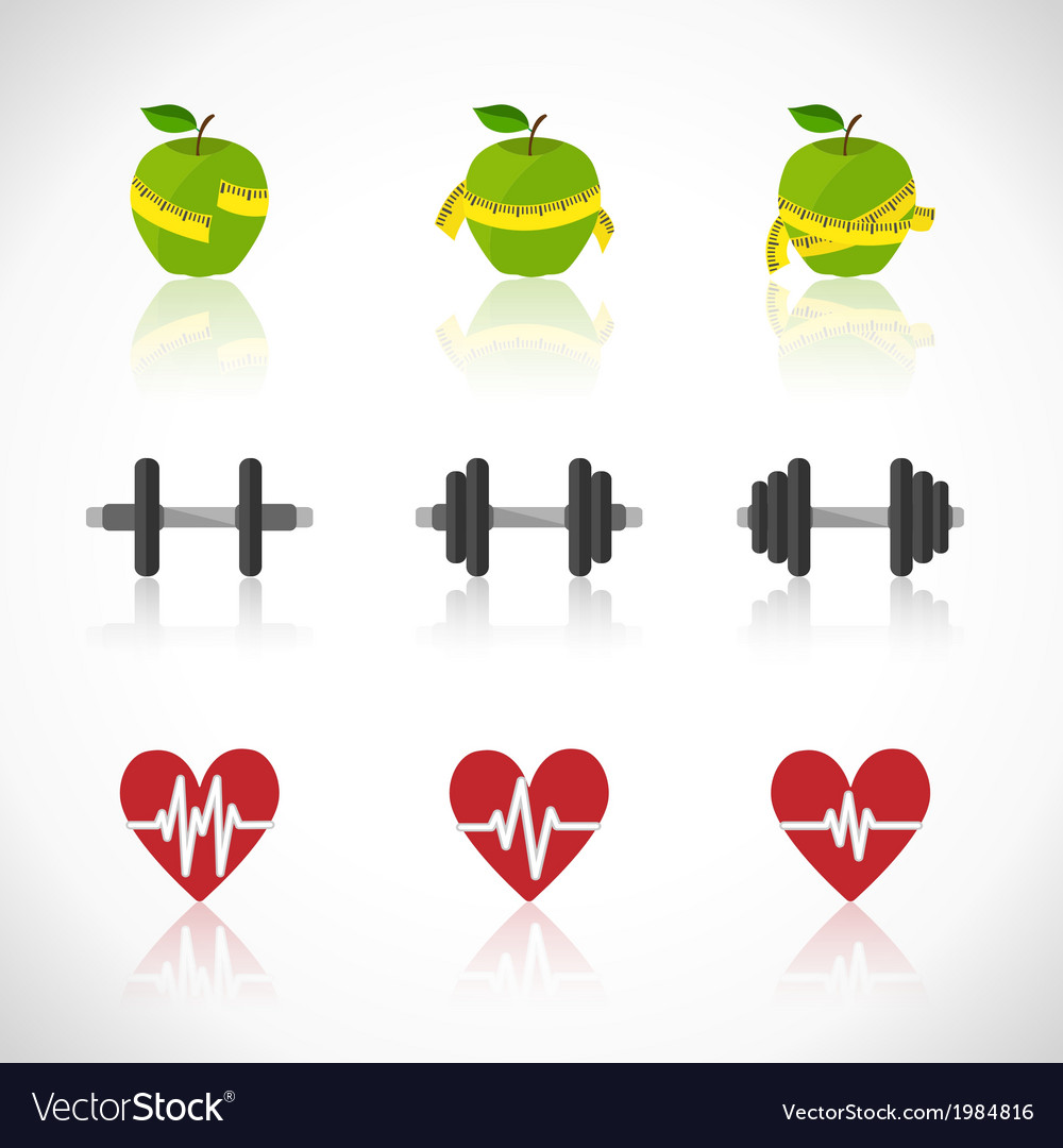 Fitness exercises progress icons set vector | Price: 1 Credit (USD $1)