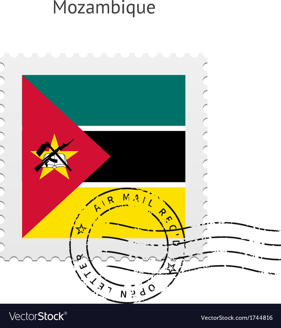 Mozambique flag postage stamp vector | Price: 1 Credit (USD $1)