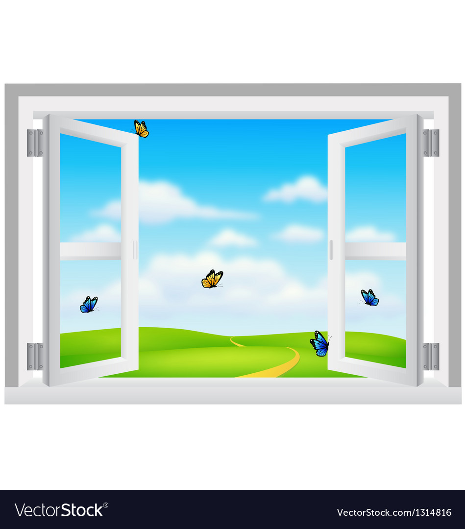 Open white window with scenery vector | Price: 1 Credit (USD $1)