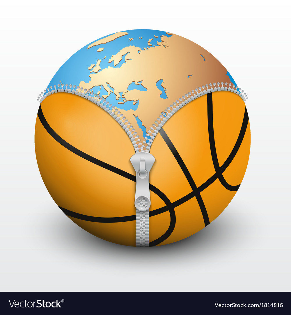 Planet earth inside basketball ball vector | Price: 1 Credit (USD $1)