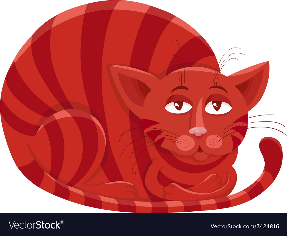 Red cat character cartoon vector | Price: 1 Credit (USD $1)
