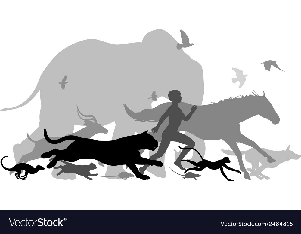 Running with animals vector | Price: 1 Credit (USD $1)