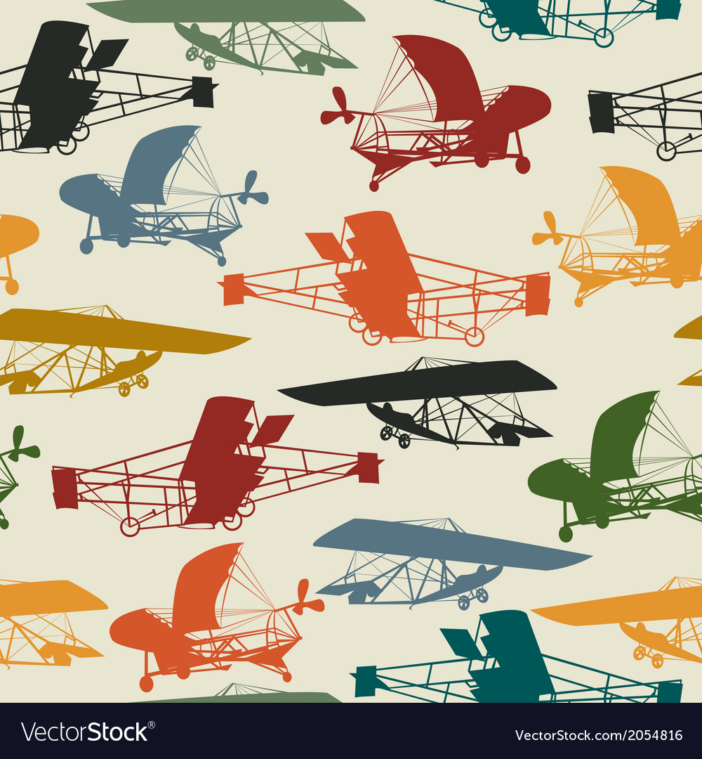 Seamless pattern with historical planes vector | Price: 1 Credit (USD $1)