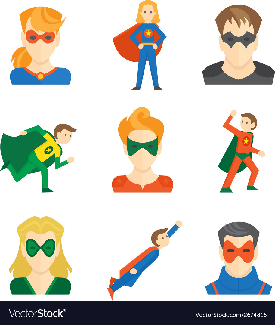Superhero icon flat vector | Price: 1 Credit (USD $1)