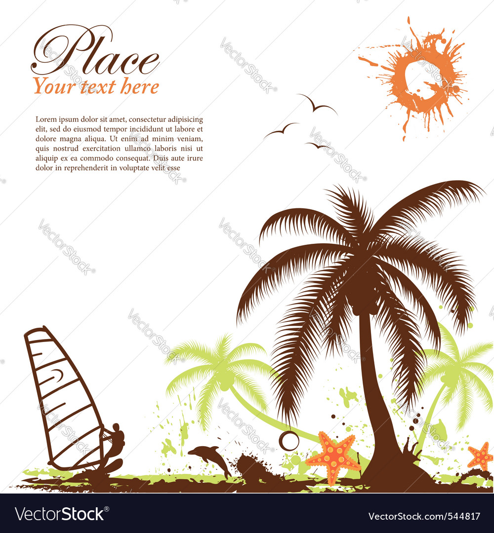 Abstract grunge summer background with windsurf pa vector | Price: 1 Credit (USD $1)