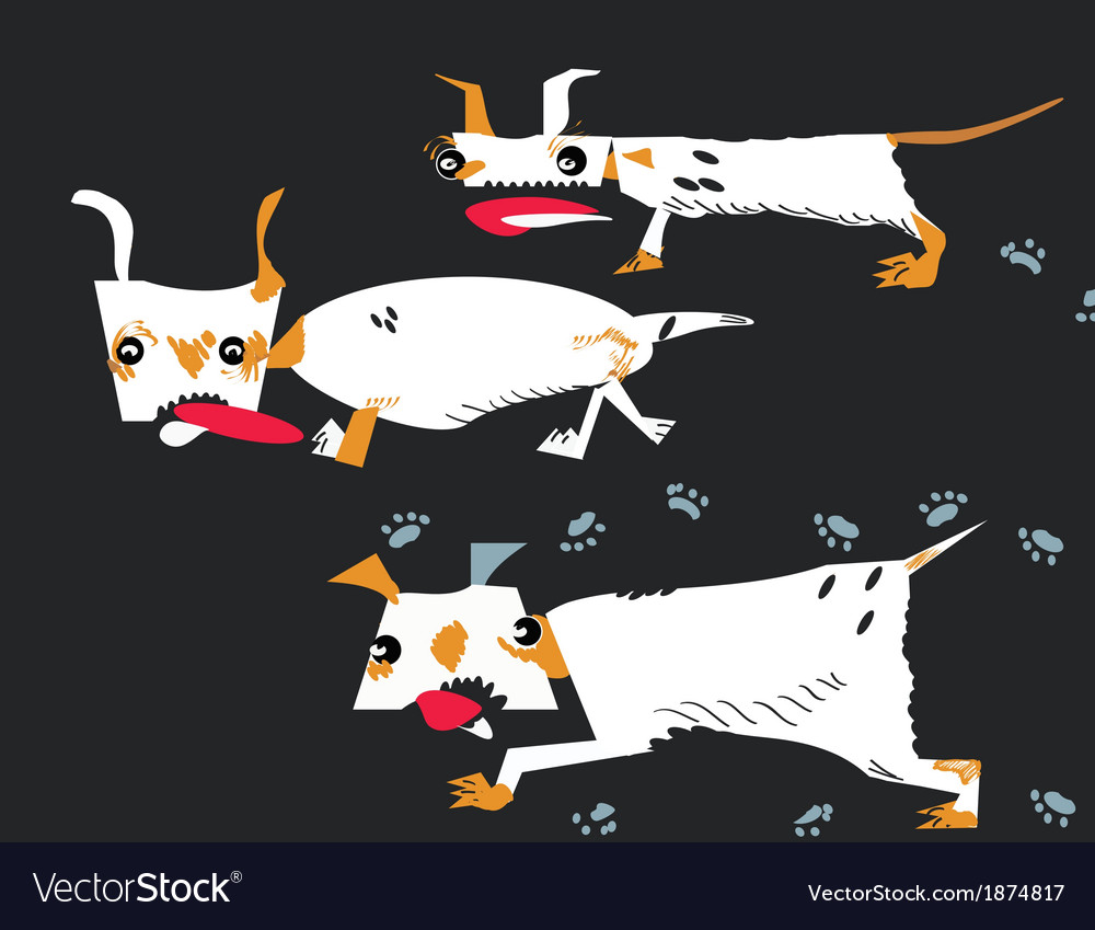 Dogs running vector | Price: 1 Credit (USD $1)