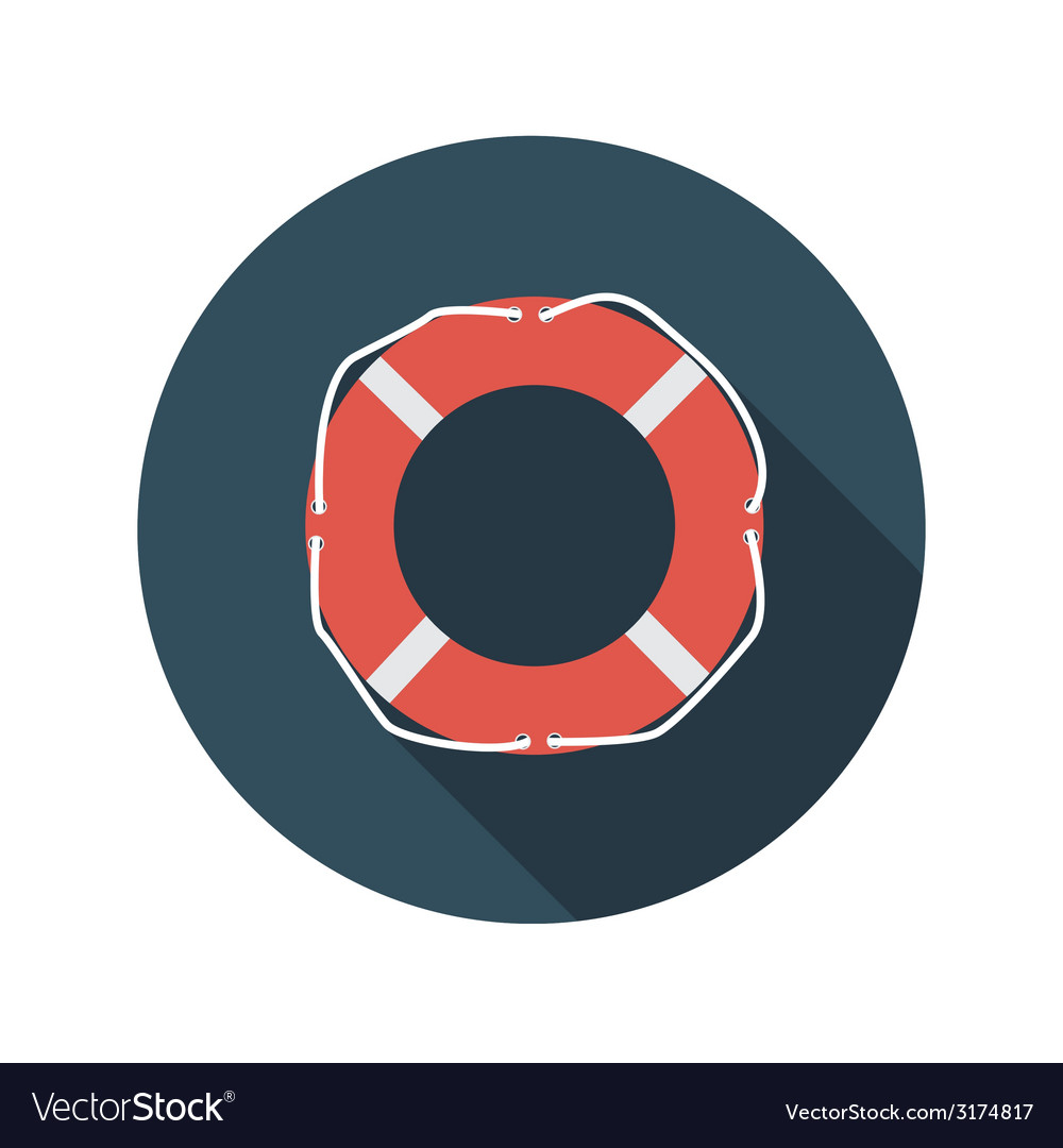 Flat design concept lifebuoy with long shado vector | Price: 1 Credit (USD $1)