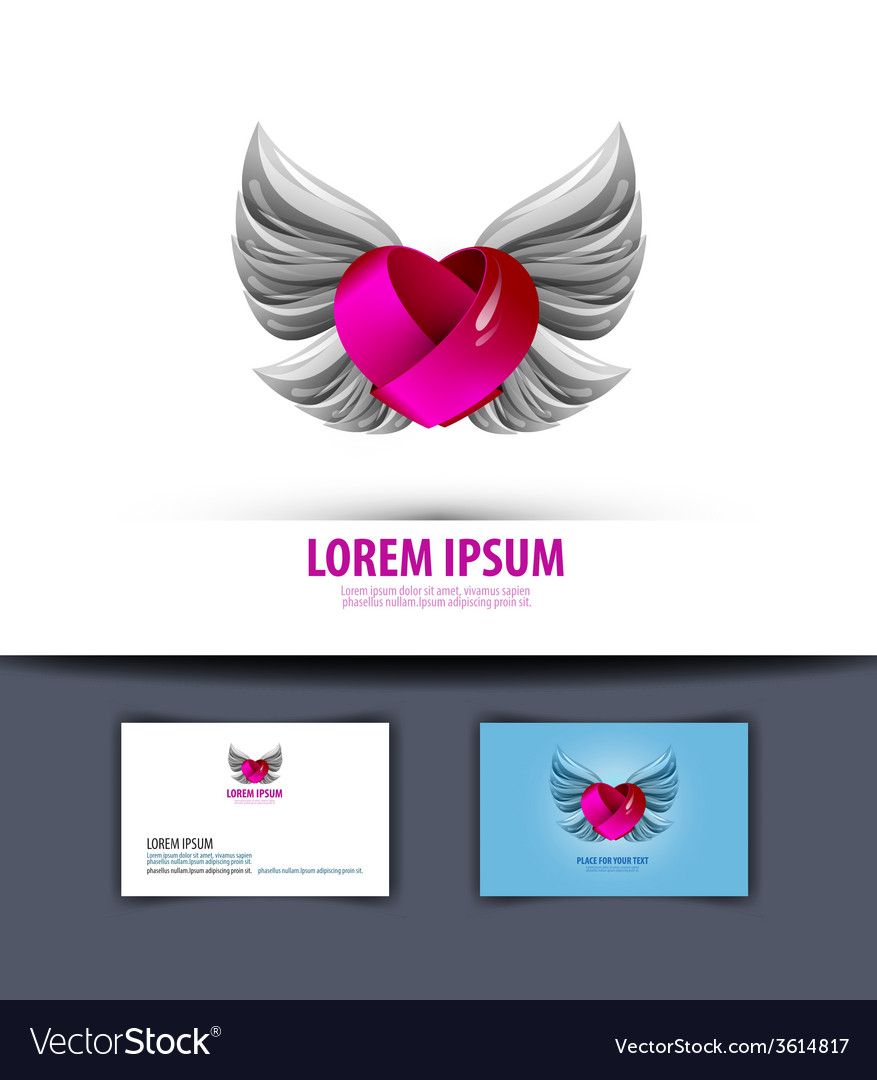 Heart and wings logo icon emblem template business vector | Price: 1 Credit (USD $1)