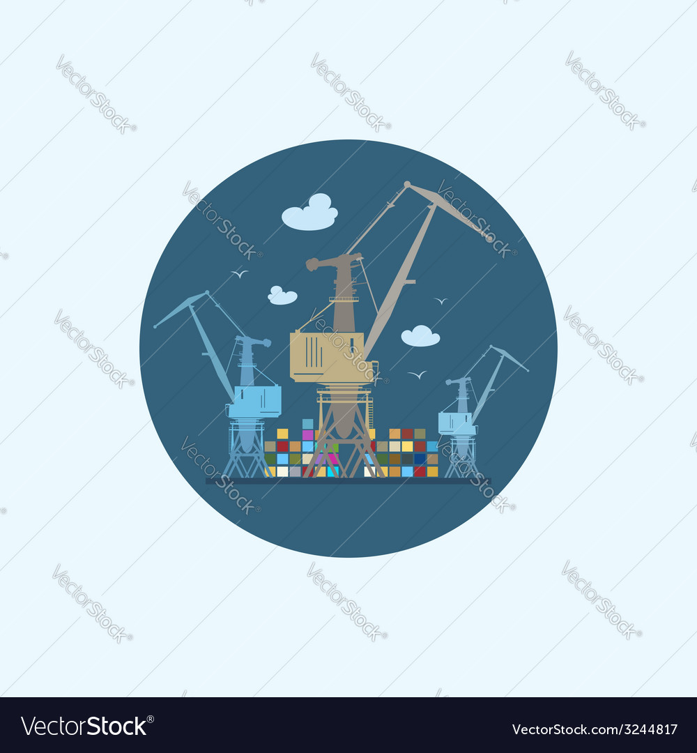 Icon with colored cargo cranes and containers vector | Price: 1 Credit (USD $1)