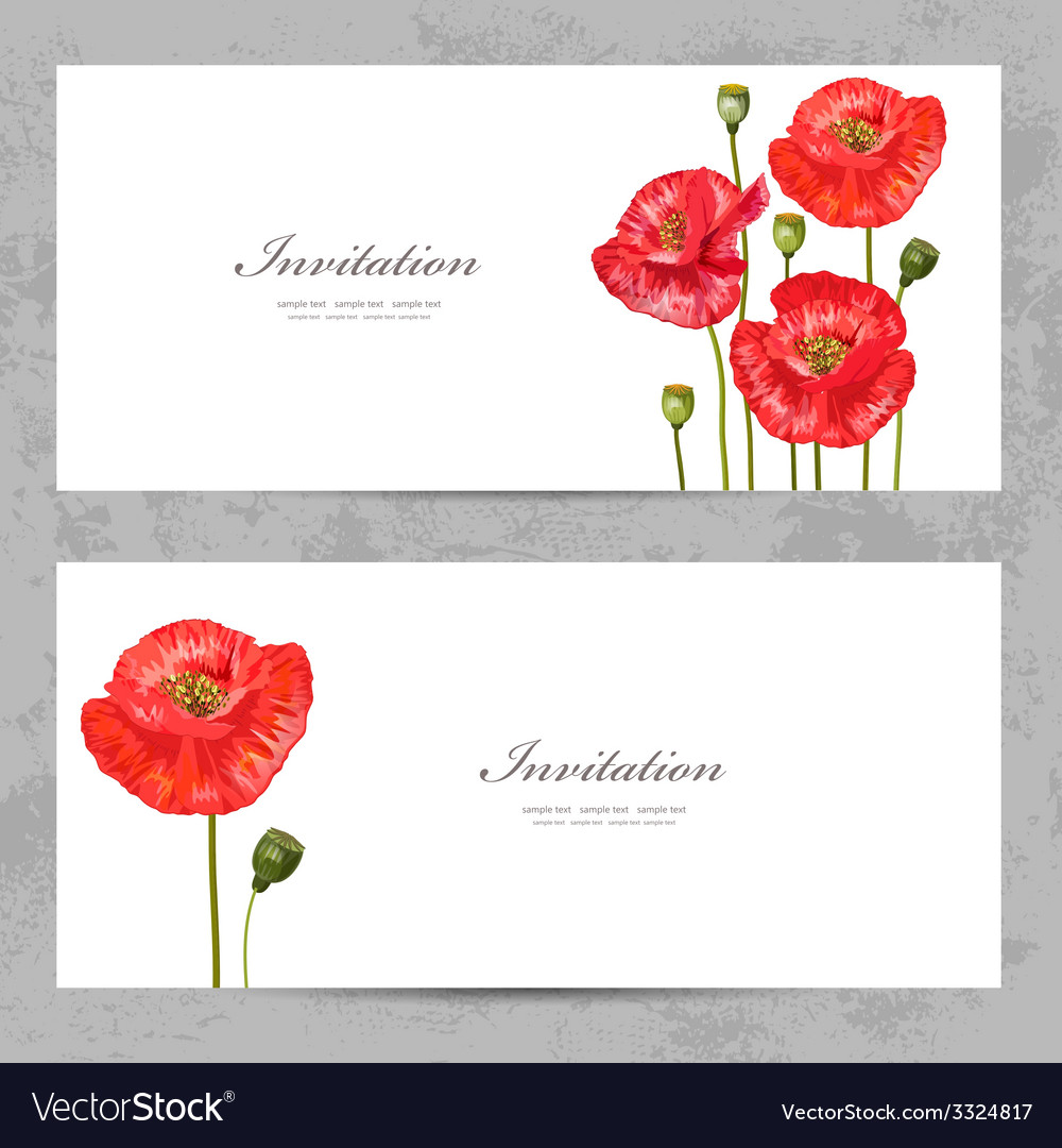 Invitation cards with a red poppy for your design vector   Price: 1 Credit (USD $1)