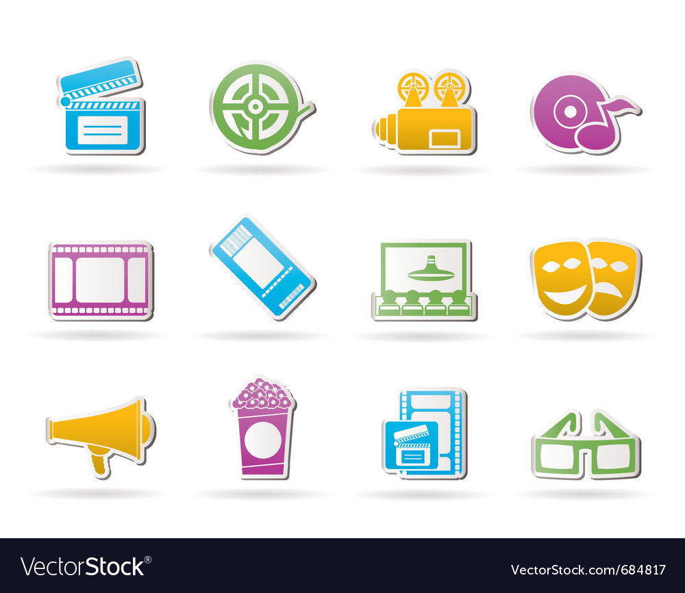 Movie theater and cinema icons vector | Price: 1 Credit (USD $1)